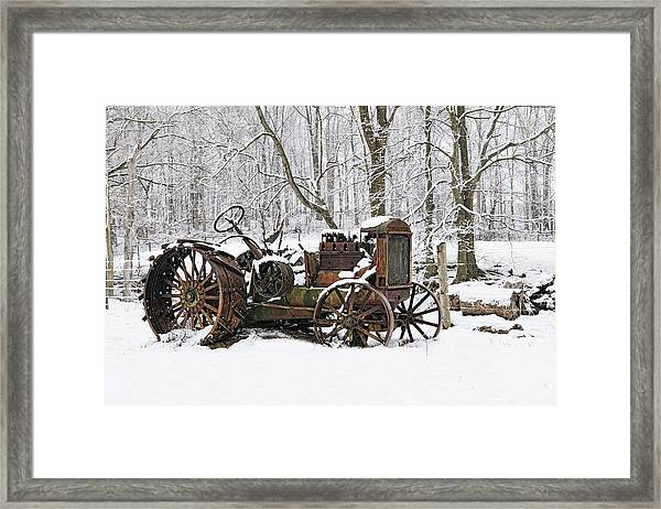 Steel And Snow Framed Print