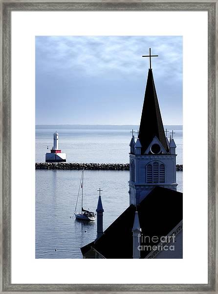 Steeple On Lake Huron Framed Print