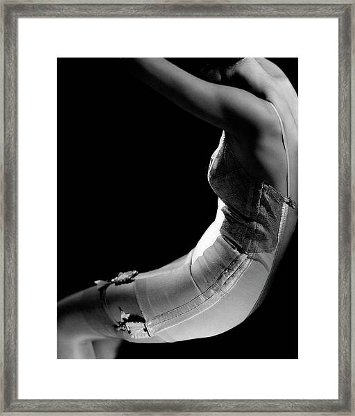 Stella Bayliss Modeling A Corset Dress Framed Print