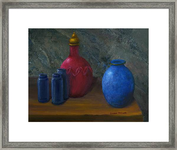 Still Life Art Blue And Red Jugs And Bottles Framed Print