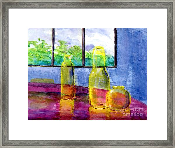 Still Life Art Bright Yellow Bottles And Blue Wall Framed Print