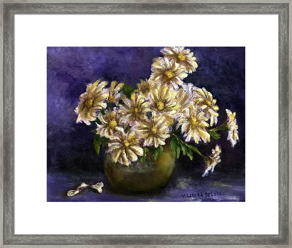 Still Life Art Diaisies In Purple  Framed Print