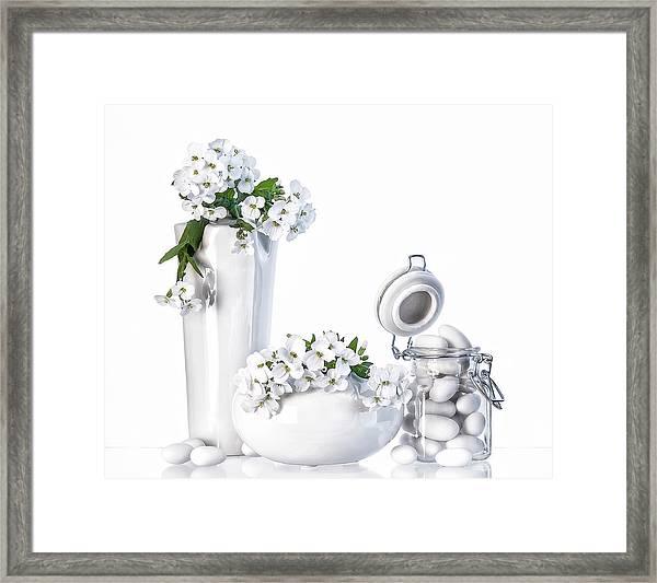 Still Life In White Framed Print