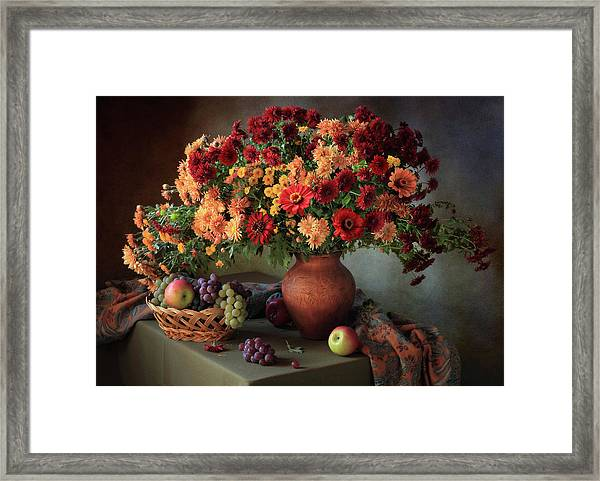 Still Life With A Bouquet Of Chrysanthemums And Fruit Framed Print
