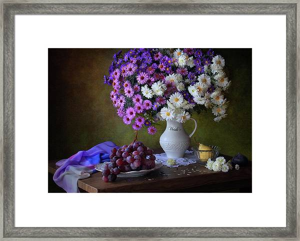 Still Life With A Bouquet Of Chrysanthemums And Grapes Framed Print