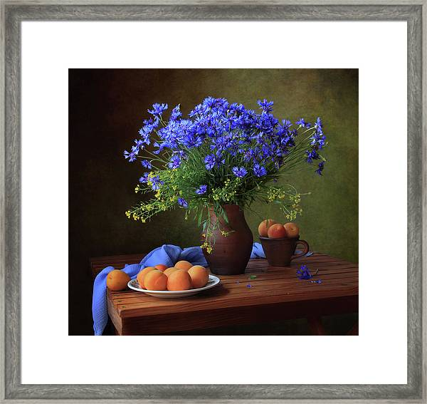 Still Life With A Bouquet Of Cornflowers And Apricots Framed Print