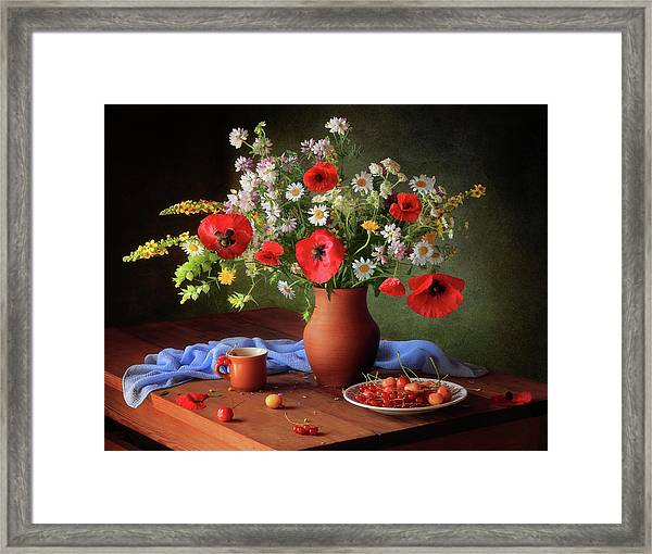 Still Life With A Bouquet Of Meadow Flowers Framed Print