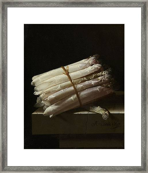 Still Life With Asparagus, Adriaen Coorte Framed Print by Quint Lox