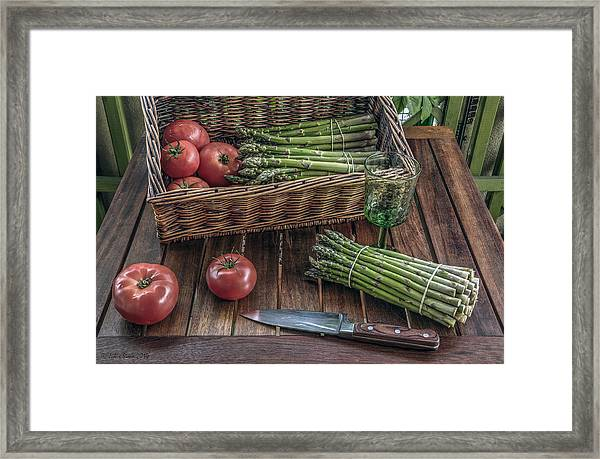 Still Life With Asparagus And Tomatoes Framed Print