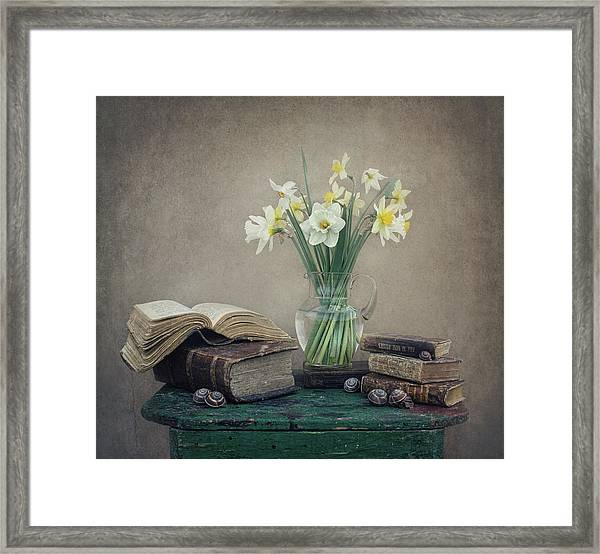 Still Life With Daffodils, Old Books And Snails Framed Print