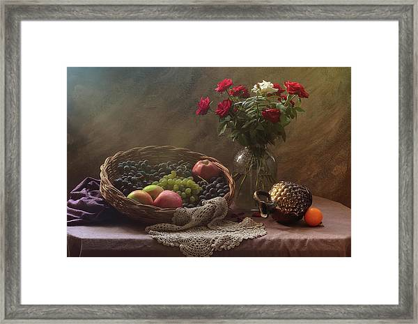 Still Life With Fruit And Roses Framed Print