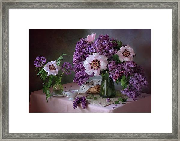 Still Life With Lilac And Peonies Framed Print