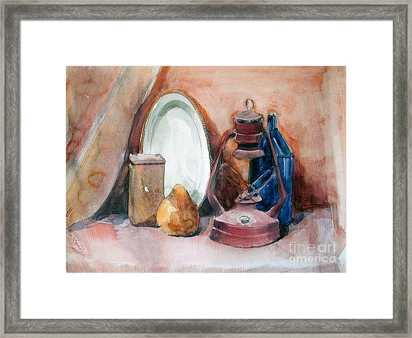 Watercolor Still Life With Rustic, Old Miners Lamp Framed Print
