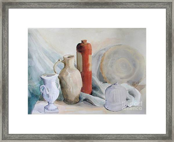 Watercolor Still Life With Pottery And Stone Framed Print