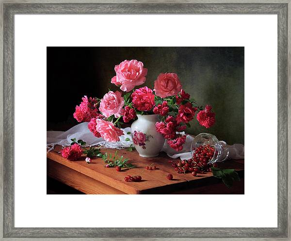 Still Life With Roses And Berries Framed Print