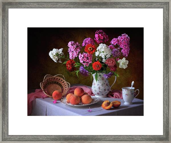 Still Life With Summer Bouquet And Peaches Framed Print