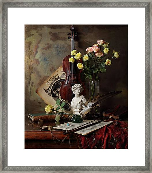 Still Life With Violin And Bust Framed Print