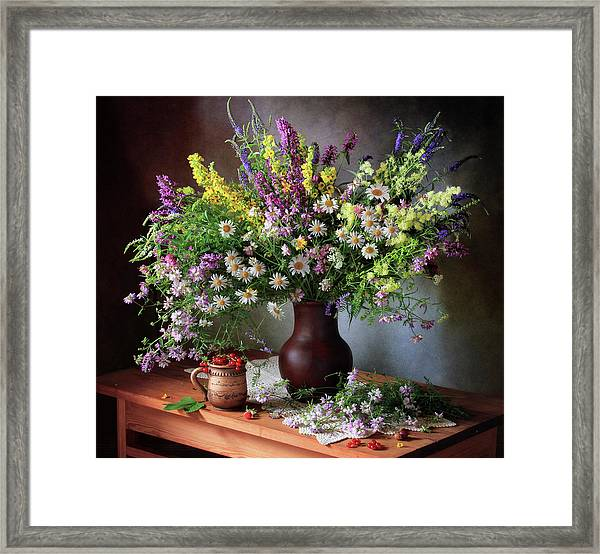 Still Life With Wildflowers And Berries Framed Print