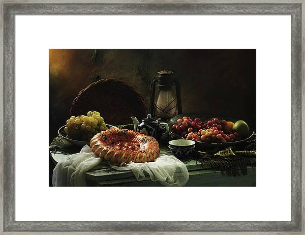 Stilllife  With Cake And Grapes Framed Print