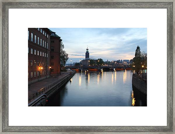 Stockholm Vasabron And The City Hall By Night Framed Print by Pejft