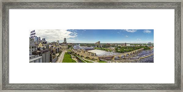 Stone Arch Bridge From The Air Framed Print