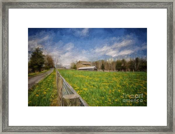 Framed Print featuring the photograph Stone Barn On A Spring Morning by Lois Bryan