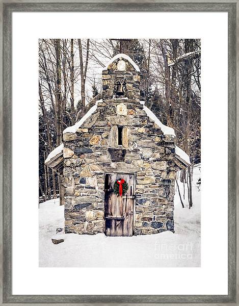 Framed Print featuring the photograph Stone Chapel In The Woods Trapp Family Lodge Stowe Vermont by Edward Fielding