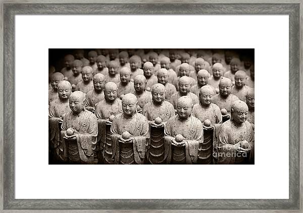 Stone Figures Of Jizo Framed Print
