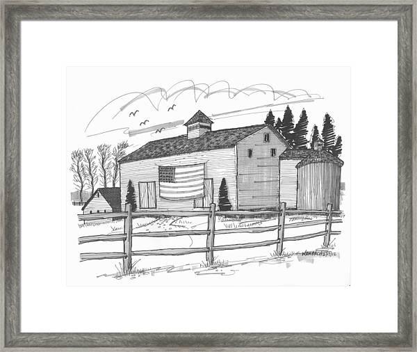 Stone Ridge Barn With Flag Framed Print