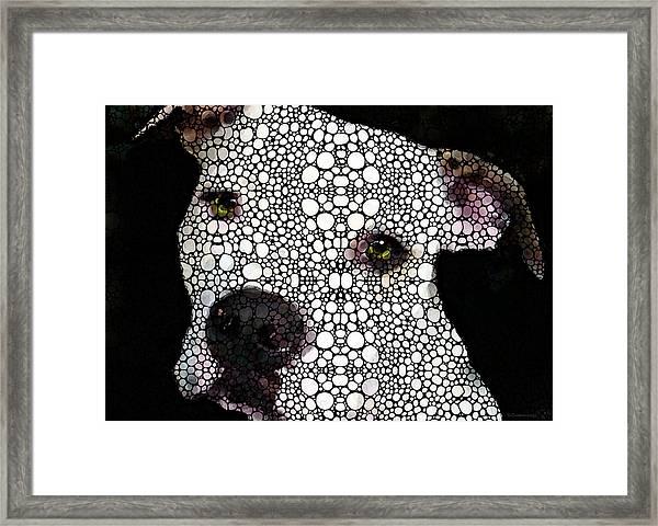 Stone Rock'd Dog By Sharon Cummings Framed Print