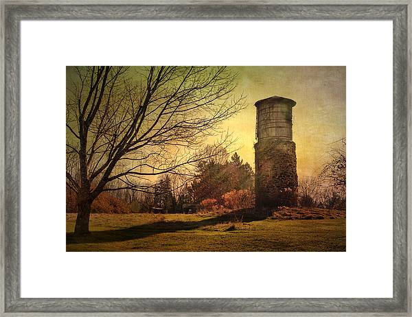Stone Silo And Water Tower  Framed Print