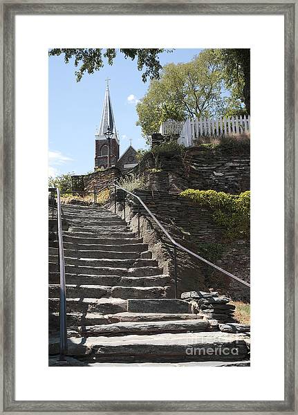 Stone Steps And Saint Peters Church At Harpers Ferry Framed Print