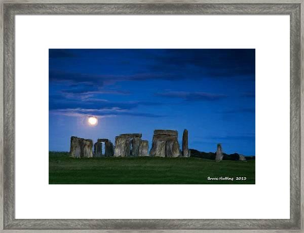 Stonehenge At Night Framed Print