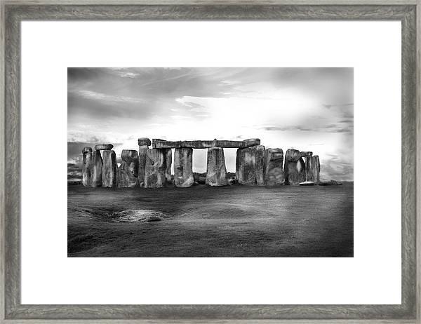 Stonehenge In The Rain Framed Print