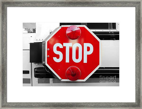 Stop Bw Red Sign Framed Print