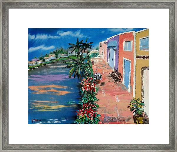 Stores Along The Intercoastal Framed Print