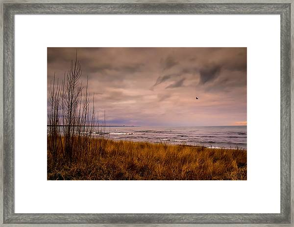 Storm Approaching At Dusk Framed Print