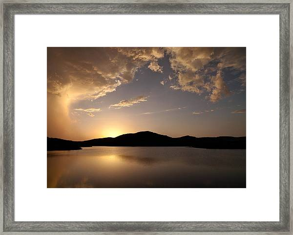 Storm Approaching At Sunset - Wichita Mountains Framed Print