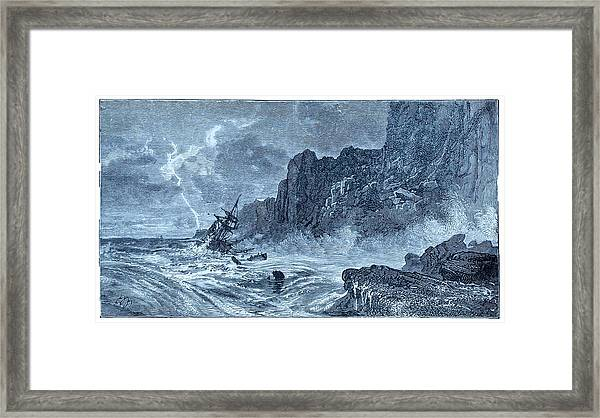 Storm At Sea And Shipwreck Framed Print
