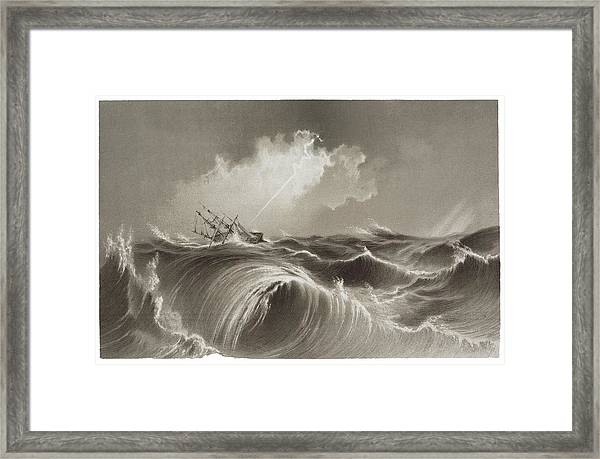 Storm At Sea Engraving Framed Print