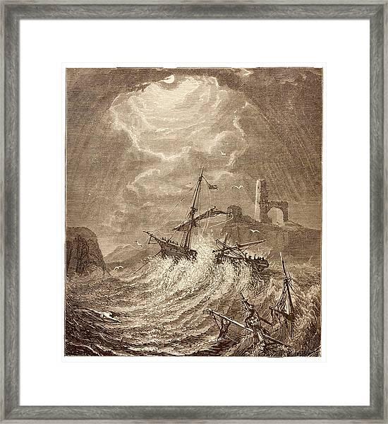 Storm At Sea Off The Cornish Coast Framed Print