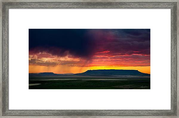 Storm Clouds Over Square Butte Framed Print