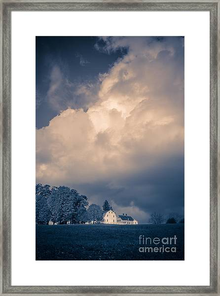 Storm Coming To The Old Farm Framed Print