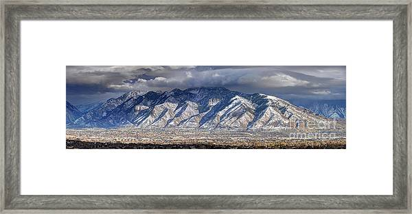 Storm Front Passes Over The Wasatch Mountains And Salt Lake Valley - Utah Framed Print