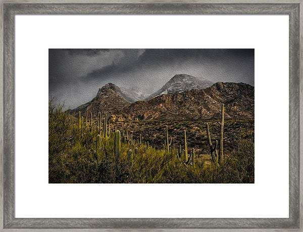 Storm Over Catalinas Aso Framed Print