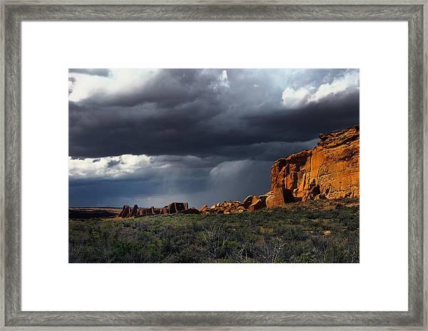 Storm Over Pueblo Bonito Framed Print