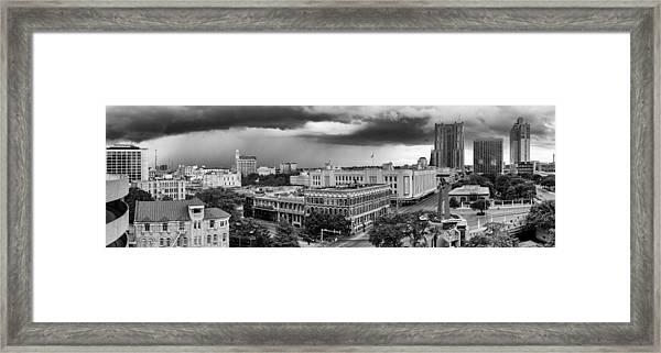Storm Over San Antonio Texas Skyline Framed Print