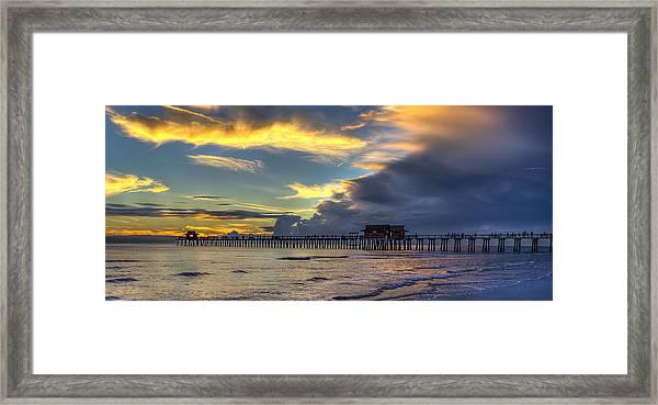 Storm Over The Pier Framed Print