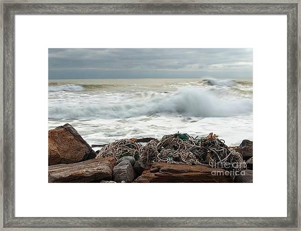 Storm Surf At Rye Beach Framed Print