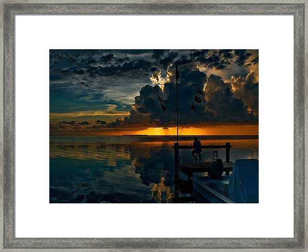 Sunset Tropical Storm And Watcher In Florida Keys Framed Print